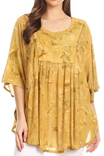 Sakkas 16031 - Cleeo Long Wide Tie Dye Lace Embroidered Sequin Poncho Blouse Top Cover Up - Olive - OS