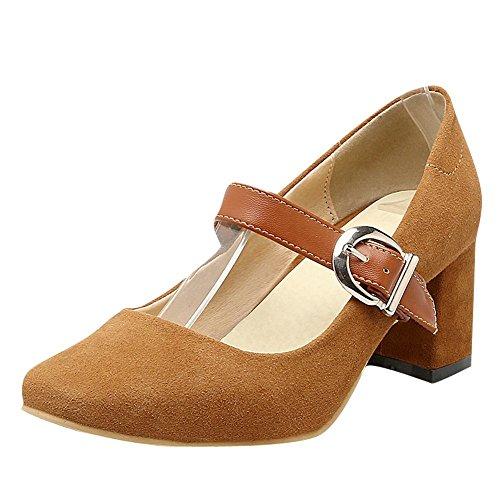 Mee Shoes Damen chunky heels Schnalle vierkant Pumps Braungelb