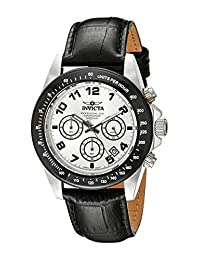 Invicta Men's Speedway Chronograph Silver Dial Black Leather Watch INVICTA-10708