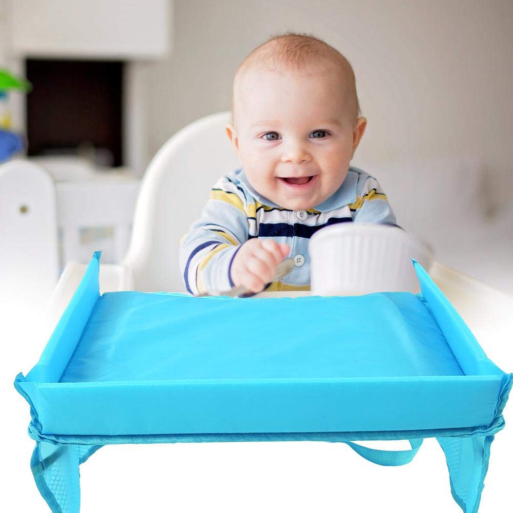 Waterproof Baby Infant Stroller Table Desk Storage Holder Car Tray for Kids Car Tray Sky Blue