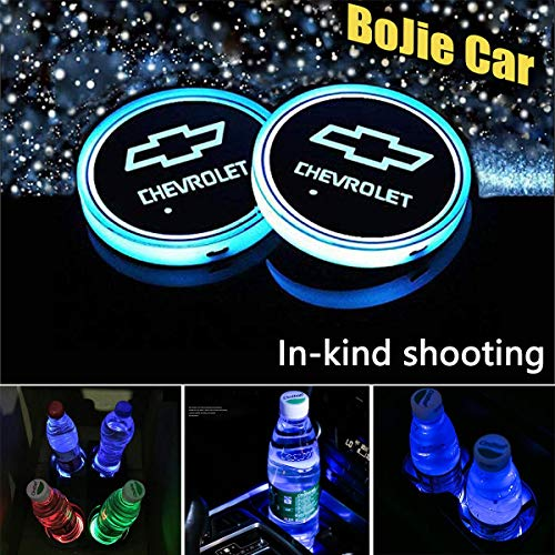 2pcs LED Car Logo Cup Holder Lights for Chevrolet, 7 Colors Changing USB Charging Mat Luminescent Cup Pad, LED Interior Atmosphere Lamp Decoration Light. (Chevrolet)