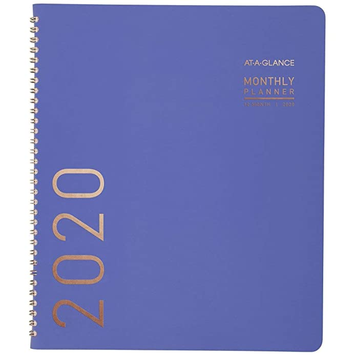 AT-A-GLANCE 2020 Monthly Planner, 9u0022 x 11u0022, Large, Contempo, Periwinkle (70250X1920)