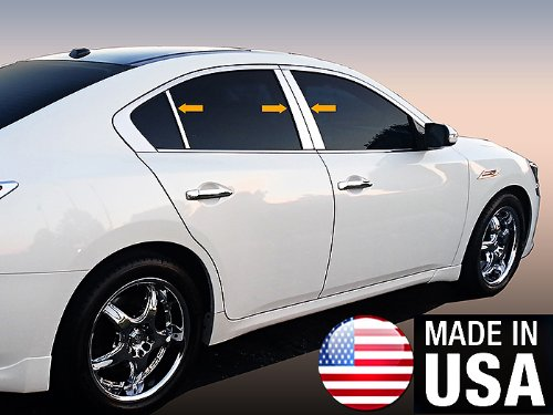 Made in USA! Works with 2009-2015 Nissan Maxima 6PC Stainless Steel Chrome Pillar Post Trim