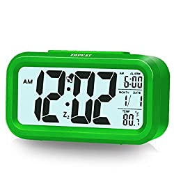 [Upgrade Version] ZHPUAT 4.6 Smart Backlight Alarm Clock with Dimmer (Green)