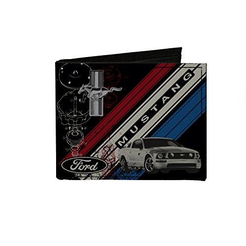 - Canvas Bi-Fold Wallet - Mustang Tri-Bar Logo Diagonal Stripe Blueprint Black Red White Blue