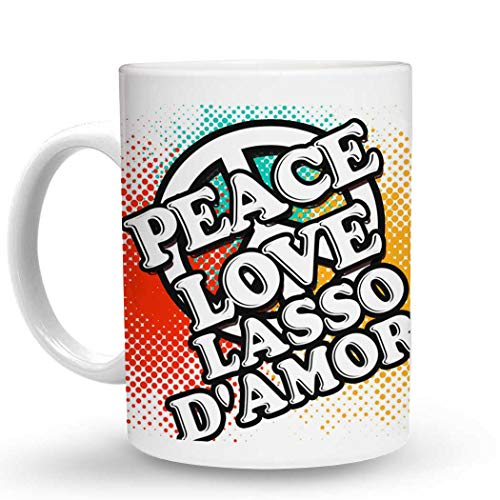 - Makoroni - PEACE LOVE LASSO D'AMORE Music - 11 Oz. Unique COFFEE MUG, Coffee Cup