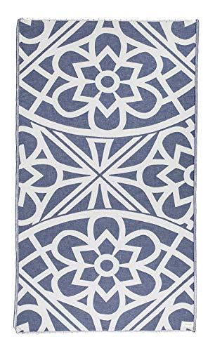Bersuse Designer Collection GOTS-Certified 100% Organic Cotton - Santorini Turkish Towel Peshtemal - Bath Beach Towels - 37 x 70 Inches, Navy (Set of 3) ()