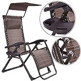 Cheap Foldable Zero Gravity Chair Lounge Patio Outdoor Yard Recliner w/ Sunshade+Tray