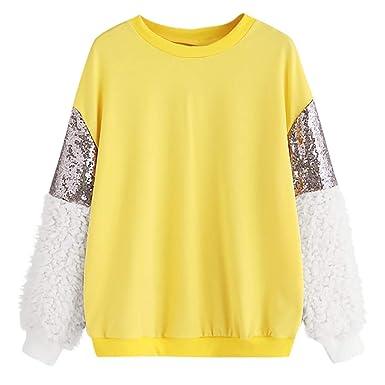 Moda 2019 Primavera Mujer Sudaderas Cortos, Mujer Sweatshirt Blusa Cuello Redondo de Manga Larga Jersey Tops sólidos Hooded Pullover: Amazon.es: Ropa y ...