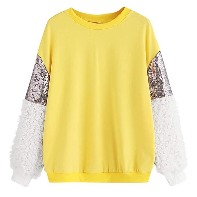 Sudadera para Mujer, Moda Mujer Manga Larga Lentejuelas Esponjoso Sudadera O-Cuello Suéter Tops Blusa Camisetas: Amazon.es: Ropa y accesorios