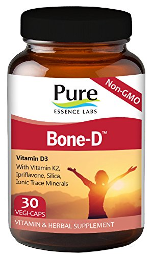 Pure Essence Labs Bone D - Vitamin D3 With Vitamin K2 - Ipriflavone - Silica - Ionic Trace Minerals - 30 Vegetarian Capsules