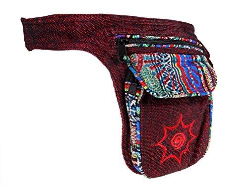 Hüfttasche mit buntem Muster - rot - Baumwolle - mit Magnetverschluss