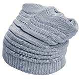 Dealzip Inc Cute Unisex Light Grey Woven Knit Crochet Plicated Baggy Slouch Warm Winter Hat Cap Beret Artist Beanie