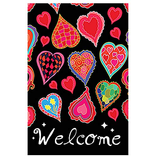 Morigins Dancing Hearts Welcome Valentine's Day Garden Flag Double Sided Decorative Flag 12.5 x 18 Inch ()