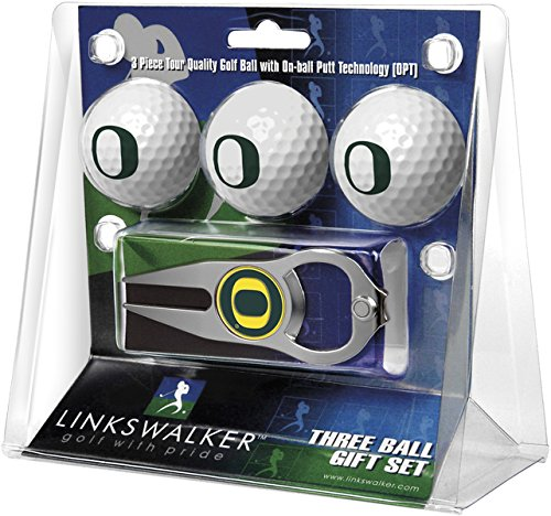 LinksWalker NCAA Oregon Ducks - 3 Ball Gift Pack with Hat Trick Divot Tool