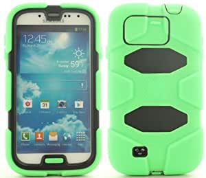 Green Black Tough Dual Layer Cover Case w/ Built-In Screen Protector for Samsung Galaxy S4