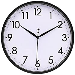 HIPPIH 10 Inch Silent Wall Clock - Non-Ticking Classic Universal Indoor Decorative Clocks for Office/Kitchen/Bedroom/Living Room