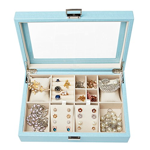 Vlando Jewelry Box Organizer with Glass Display Top, Multi-compartments for Necklaces Earrings Watches Rings Storage, Gift Box (Blue)