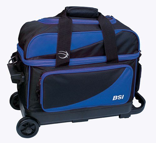 BSI Prestige Double Roller Bowling Bag- Black/Blue by Bowlers Superior Inventory