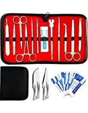 1 YEAR WARRANTY!! 22 Pcs Dissection Kit For Anatomy & Biology Students Includes Scalpel Knife Handle - 11 Blades - Case - Stainless Steel Dissecting Tool Set For Frogs Animals etc, Lab Veterinary Botany