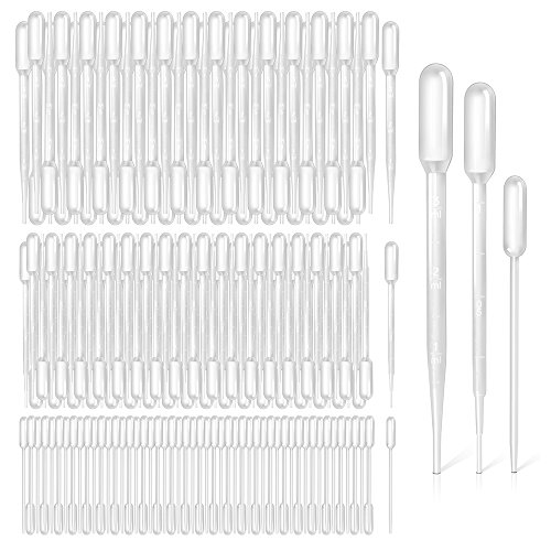 Teenitor 3ml, 1ml, 0.5ml Pipettes, Top Quality Disposable Plastic Pipettes Transfer Pipettes Eye Dropper, Essential Oils Pipettes Dropper Makeup Tool, 300pcs