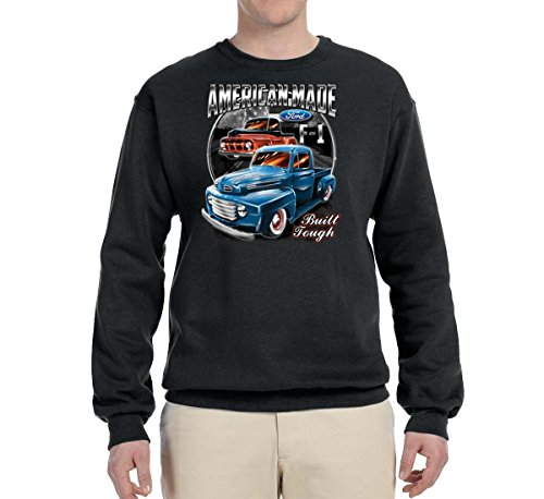 - Ford F1 American Made Built Tough | Mens Planes/Trains/Automobiles Crewneck Graphic Sweatshirt, Black, X-Large