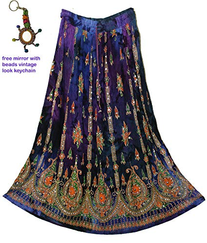 Fashion of India Women's Long Bohemian Maxi Skirt - Gypsy Hippie Boho Chic Style Dress - Up to 6 Feet Tall Girl - Blue & Orange ()