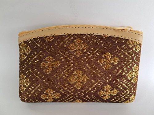 Fabric Brown Pocket Handmade Thai Diamond Gold Pattern 2.8x4.8