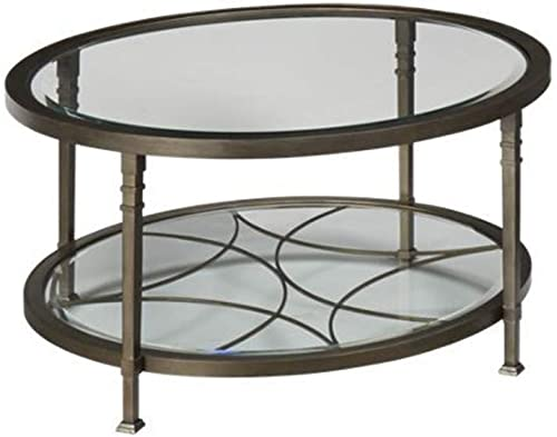 GTU Furniture Atrium Metal Oval Beveled Glass Coffee Cocktail Table Oval 18 H x 48 W x 29 D