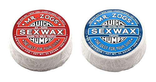SexWax Quick Humps Mr Zogs Surfboard Wax/Tropic Twin Pack - Red + Blue