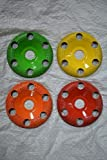 """Set of 4 - 4'' Donut Wheel, Round Face, w/ Holes, Fine, Medium, Coarse, Extra Coarse Grit, Bore Size 7/8"""" - Carving Wheels, Disc Sanders by Saburr Tooth - Rotary, Shank, Power carving tool"""