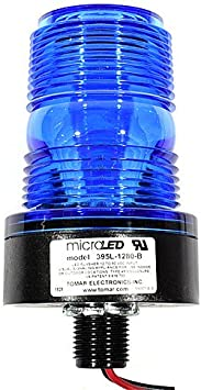 1//2 Inch Thread Mount Tomar MicroLED 395L-1280 Blue Flashing DC LED Strobe