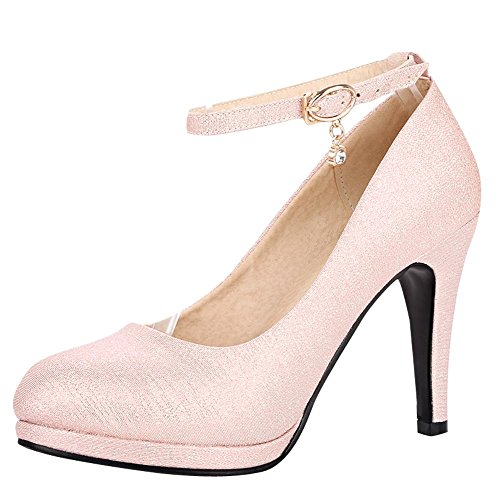 Mee Shoes Damen high heels ankle strap Plateau Pumps Pink