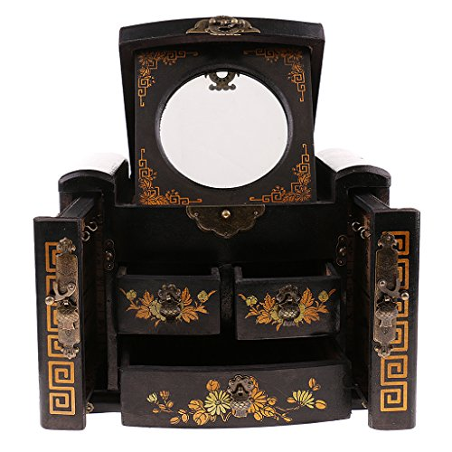 Homyl Vintage Antique Exquisite Chinese Wooden Dressing Table Old Dresser Jewelry Cosmetic Box with Drawers Mirror - Black