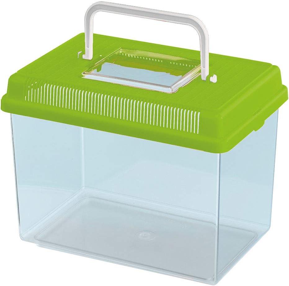 Ferplast Acuario de plástico para Peces Geo Medium Tanque de 2,5 L, Acuario terrario Insectos y Tortugas, Plástico, Rejillas de ventilación, Asa para el Transporte, 23,2 x 15,3 x h 16,6 cm Verde