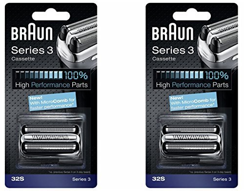 BRAUN 32S Series 3 Shaver Foil and Cutter Head Replacement Cassette, 2 Count by Braun