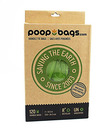 PoopBags Recycled 7×13 Dog Waste Bags with Handle Ties- 120 Count- Doggie Poop Bags, Eco on a Roll