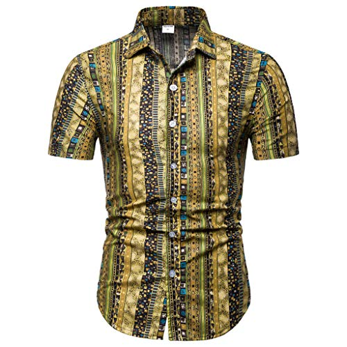 Men's Casual Button-Down T Shirts Standard-Fit Tropical Hawaiian Shirt Casual Button Down Short Sleeve Basic Shirts