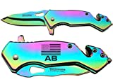 NDZ Performance Tac-Force 6.5'' Tactical Rescue Folding Knife Glass Breaker Seat-Belt Cutter 903RB Compact Rainbow Us Flag Air Basic