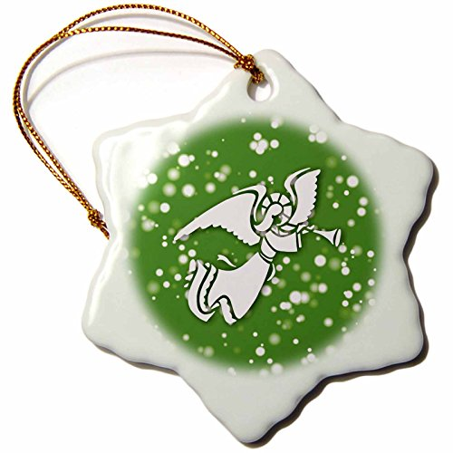 on White Christmas Designs - White Christmas Design- Angel with Trumpet in Green and White - 3 inch Snowflake Porcelain Ornament (ORN_251825_1) ()