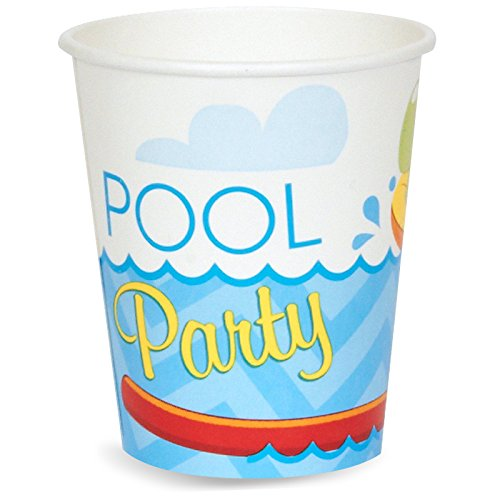 BirthdayExpress Summer Beach Ball Pool Party Supplies - 9 oz. Paper Cups (8) -