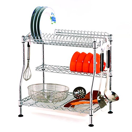 Dish Drying Rack, SUNCOM 3-Tier Adjustable Kitchen Dishes Rack with Removable Drain Board, Sturdy Chrome Large Capacity Plate Dish Drainer Organizer