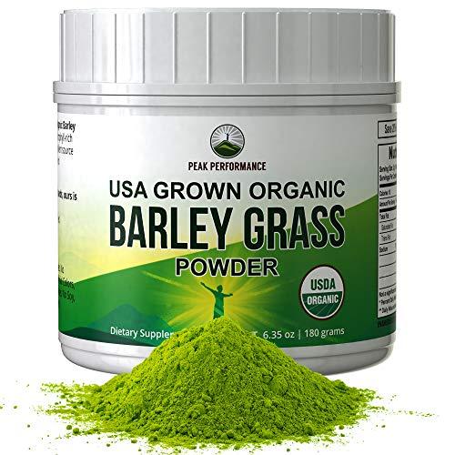 Organic Barley Grass Juice Powder by Peak Performance. USA Grown Vegan Superfood Supplement Rich in Fiber, Antioxidants, Chlorophyll. Non Irradiated, Non GMO, Gluten Free Barleygrass Extract Powders (Vimergy Powder Grass Barley Juice)