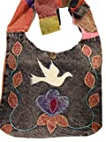 Bohemian Dove Flower Peace Bag Crossbody Purse Handmade in Nepal Fair Trade By Ragged Ends, Bags Central