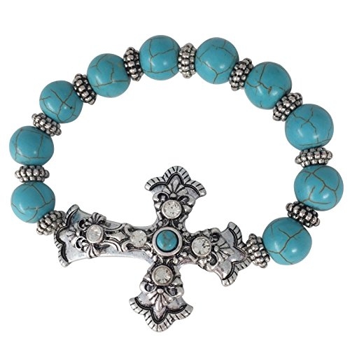Gypsy Jewels Imitation Turquoise Beaded Sideways Cross Stretch Bracelet - Assorted Styles (Cross Stud Bracelets)