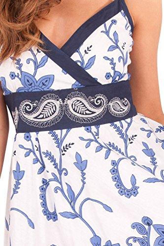 Cachemire Femmes Imprime Fleur Robe Rayures Front Crois Motif Swirl Pistachio Floral Blue HFSwIqxq