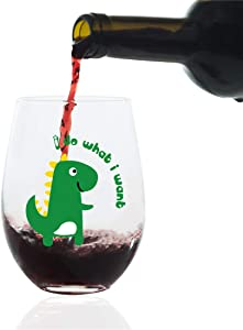 Wine Glasses Stemless Handmade Glass for Red or White Wine, Premium Texture and Super Bright Glass, Free Dinosaur Design for Christmas, Luxury Packaging -15-Ounces