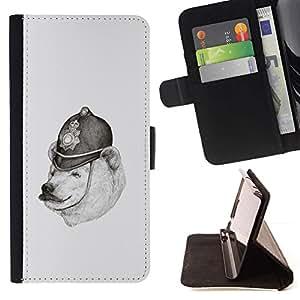 Momo Phone Case / Flip Funda de Cuero Case Cover - Oso polar Dibujo Lápiz Policía Negro Blanco - HTC One M7