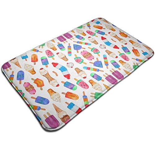 ZTAMORYWW Tiny Watercolor Summer Ice Creams Doormats Mats Bath Non Slip Absorbent Microfiber -