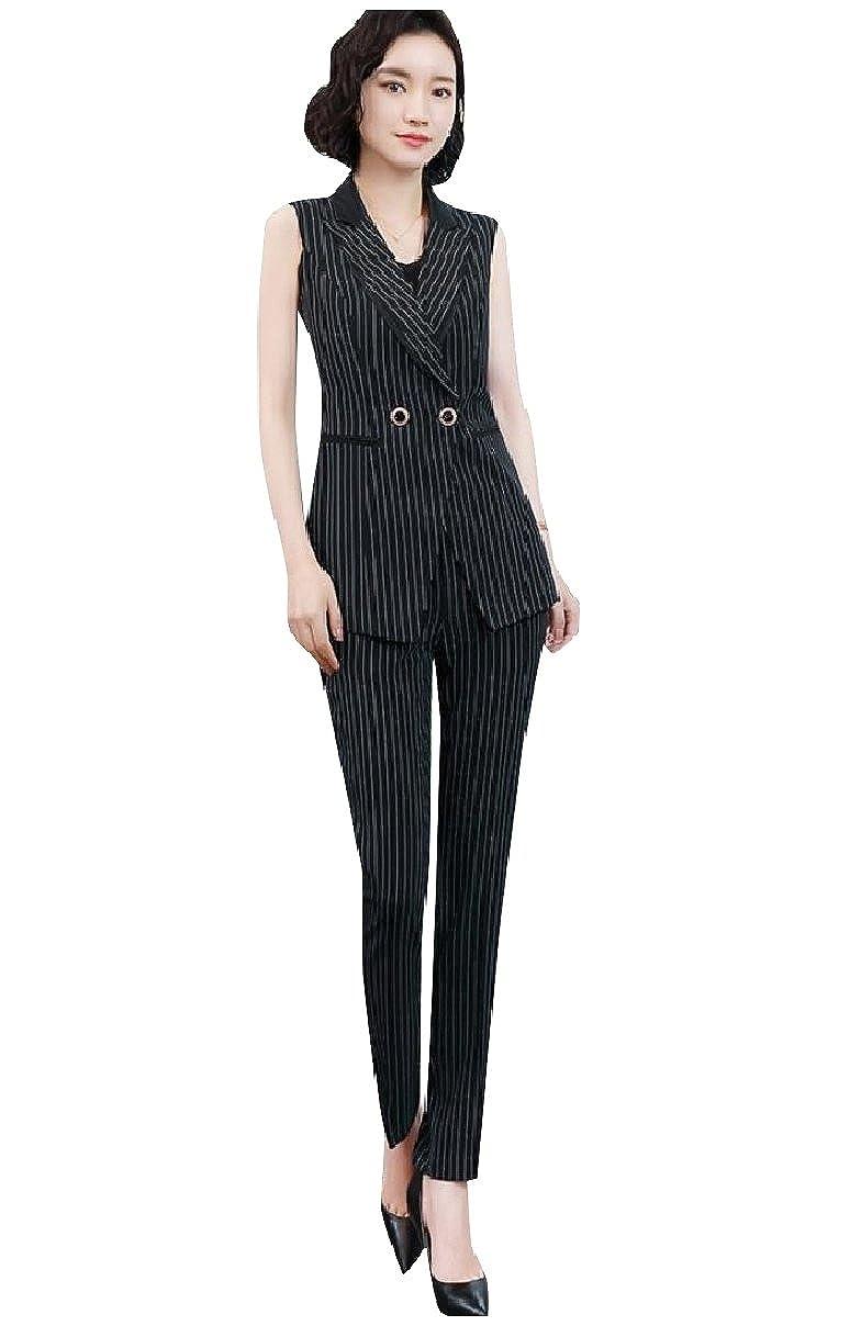 Coolred-Women Camisole Sleeveless Office Wear Blazers 3-Piece Suits Set